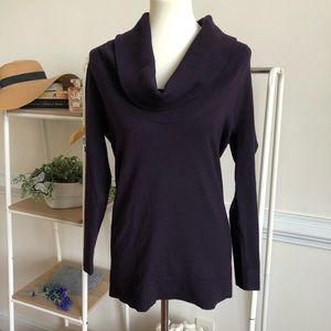 Theory cowl neck purple wool blend sweater